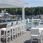 Bar stools and dining chairs made from enviro-wood, available in 18 colours, in a Yacht Club