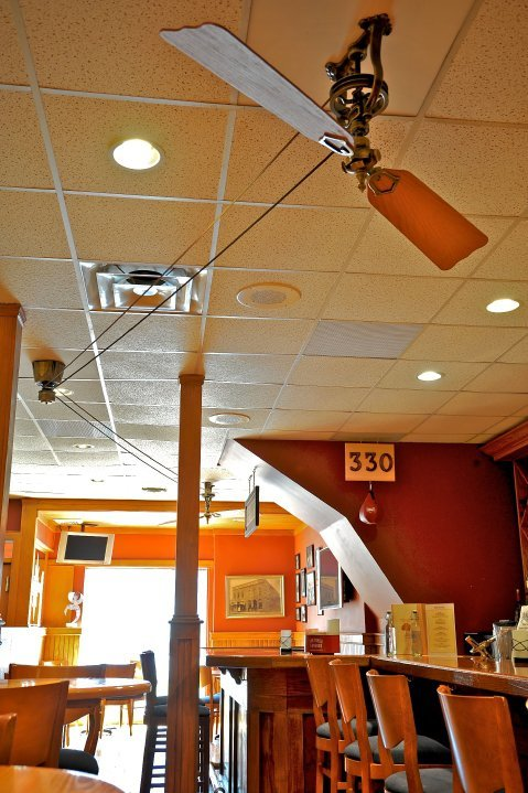 ... Brewmaster Belt Driven Ceiling Fan, Antique Brass Finish, With Wooden  Cherry Finish Blades ...