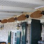 Punkah ventilador de techo / pared, negro, con aspas de mimbre