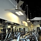 Gym with Zonix ceiling fans, satin nickel finish
