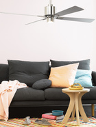 Climate ventilador de techo con luz, disponible en blanco, latón cepillado y cromo cepillado