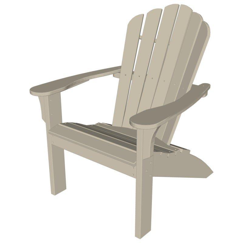 Mallorca Adirondack Chair, HDPE Plastic Lumber, Natural
