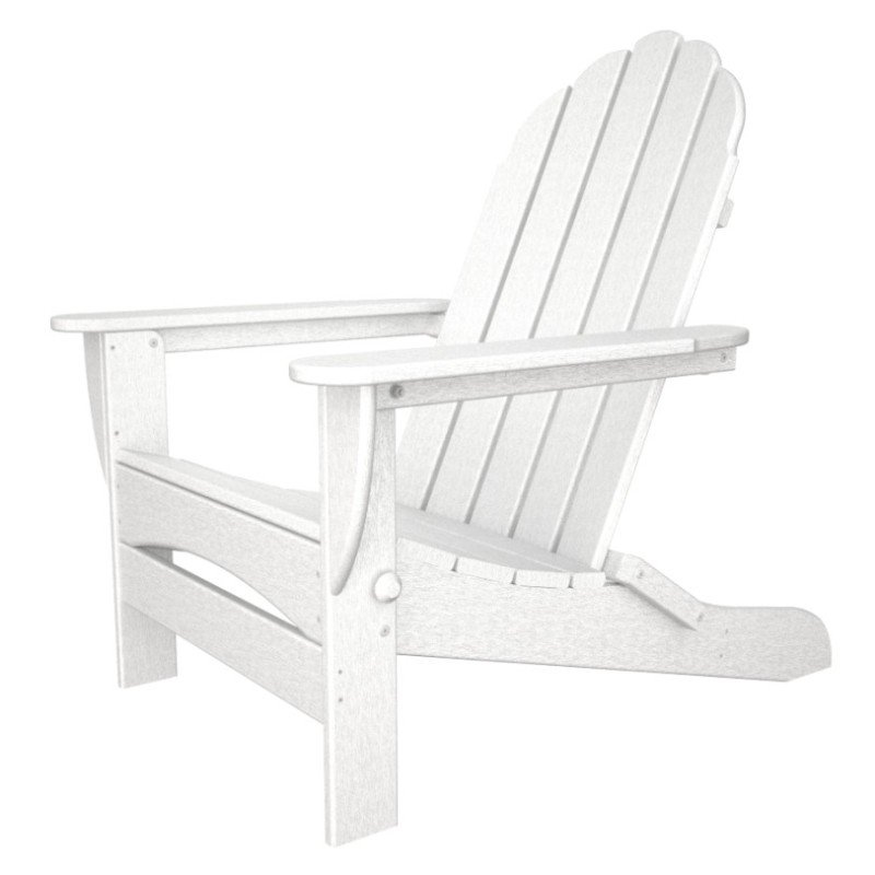 Good Classic Oversized Folding Adirondack Chair, HDPE Plastic Lumber, White    Show Piece