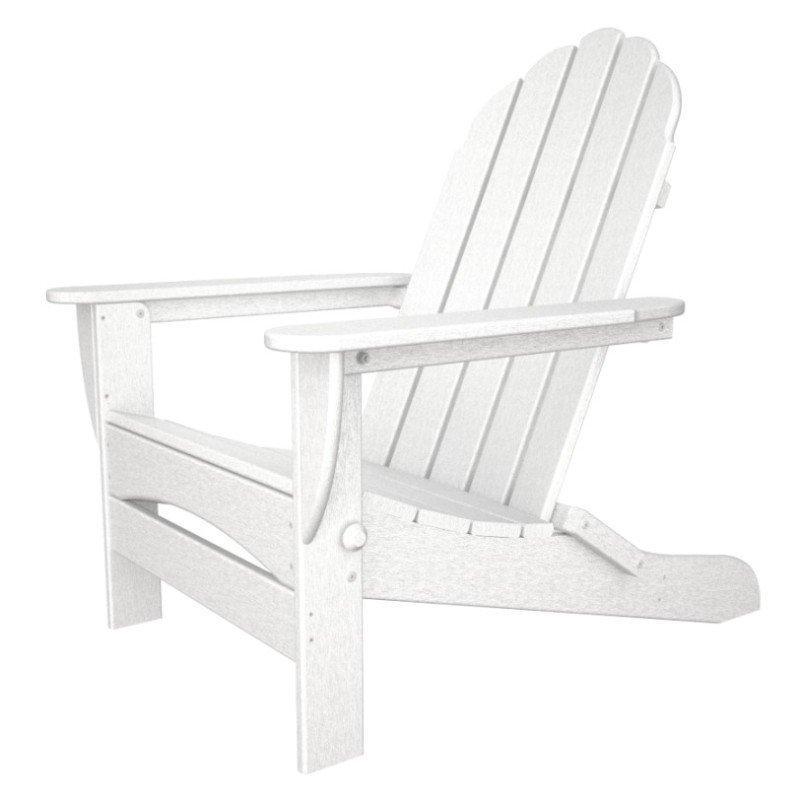 Classic Oversized Folding Adirondack Chair, HDPE Plastic Lumber, White