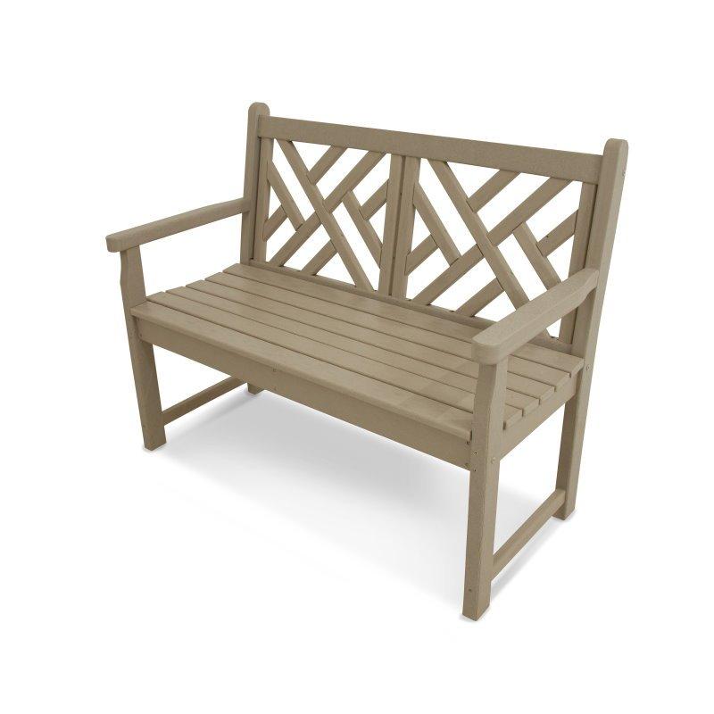 Chippendale Garten Bank 122 cm breit, HDPE Kunststoff, sand