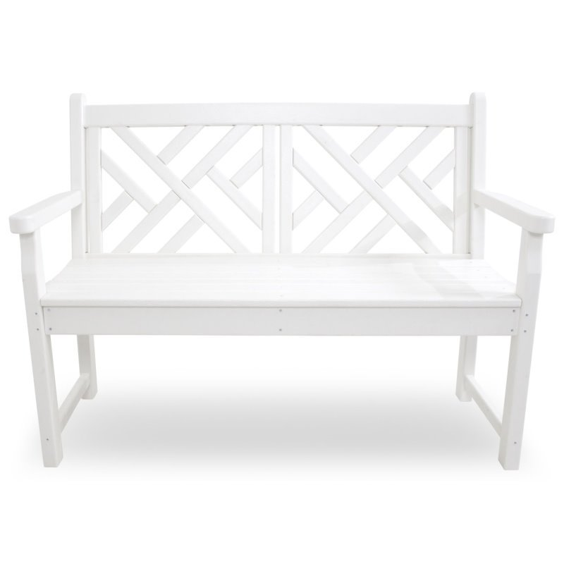 Elegant ... White Chippendale Garden Bench 122 Cms Wide, HDPE Plastic Lumber, ...