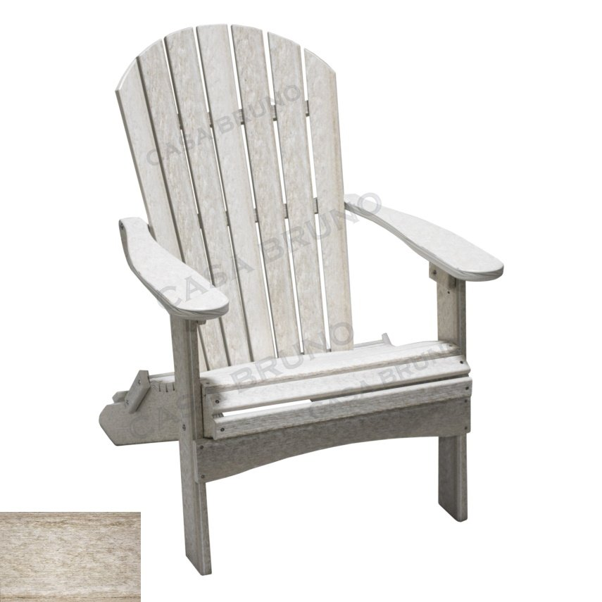 Alabama Oversized Adirondack Chair, Foldable, HDPE Plastic Lumber, Seashell  Natural Finish