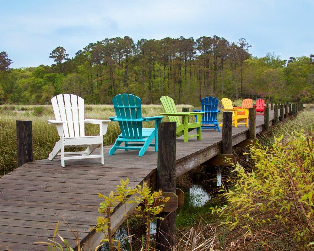 south beach ii adirondack chair hdpe plastic lumber sunset red - Polywood Adirondack Chairs