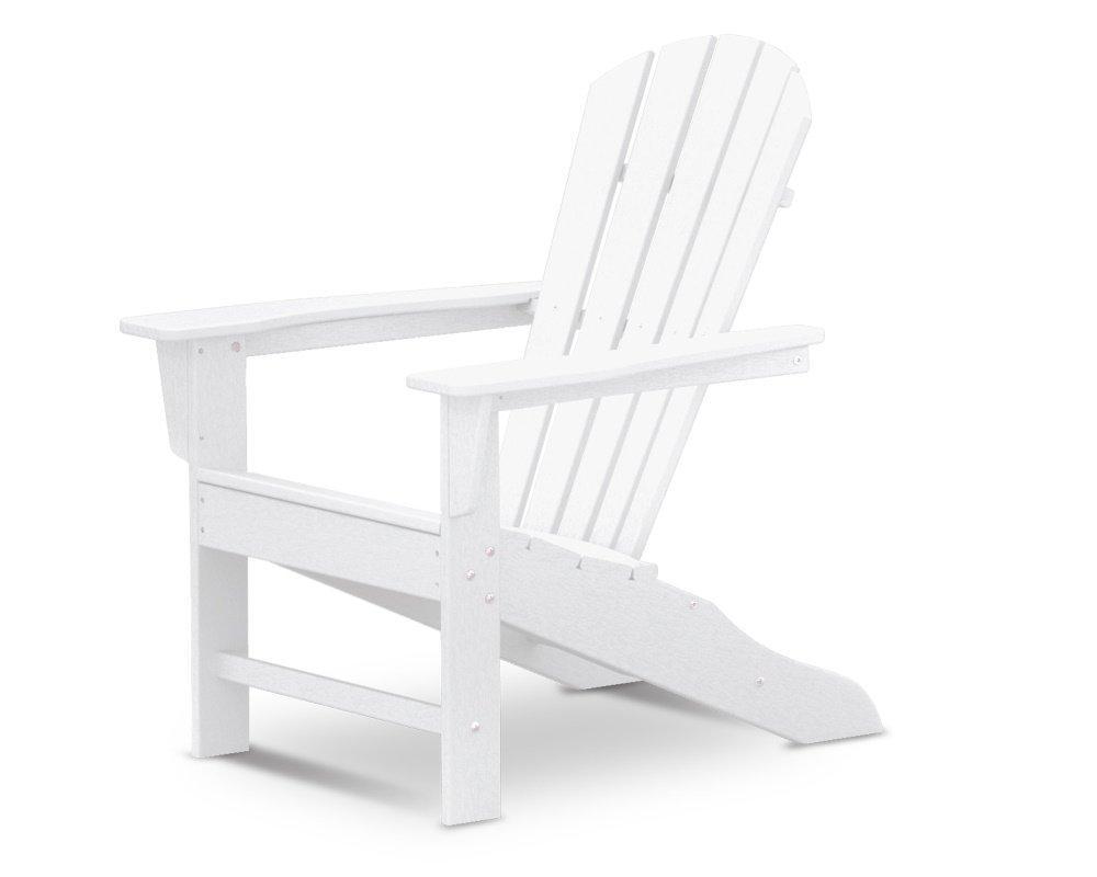 South Beach II Adirondack Chair, HDPE Plastic Lumber, White