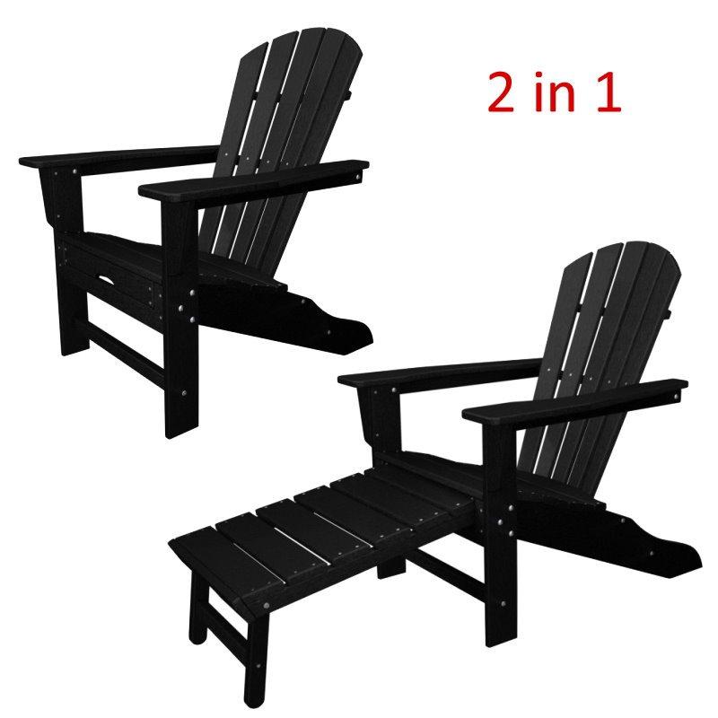 South Beach II Ultimate Adirondack Chair W/ Hideaway Ottoman, HDPE Plastic  Lumber, Black
