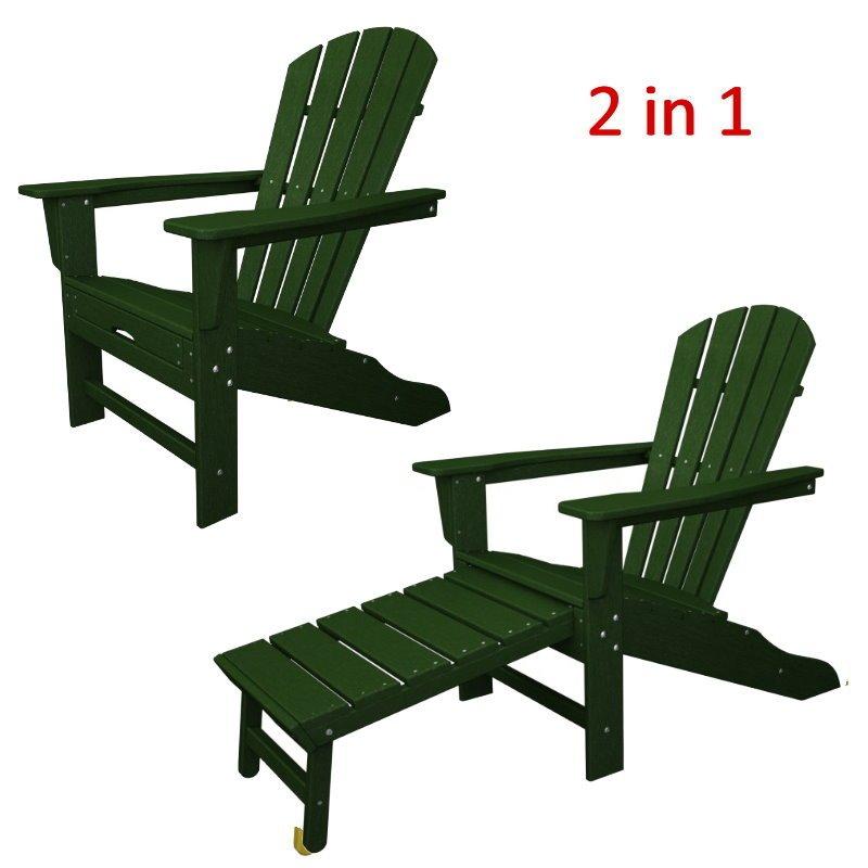 South Beach II Ultimate Adirondack Chair W/ Hideaway Ottoman, HDPE Plastic  Lumber, Dark