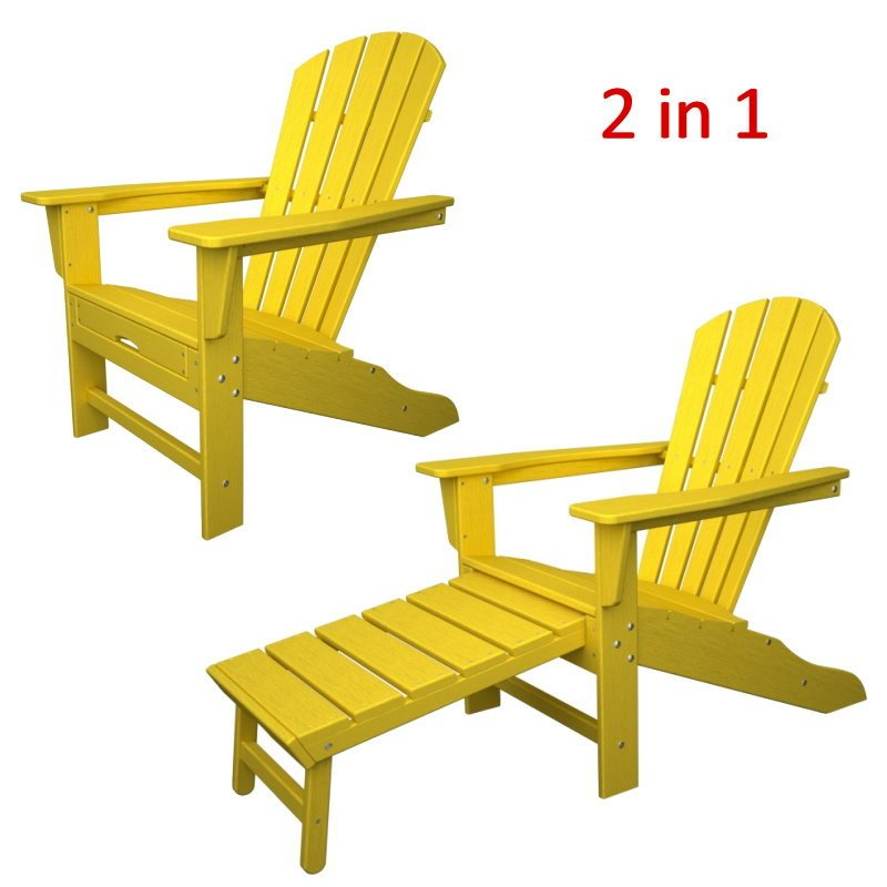 south beach ii ultimate adirondack chair w hideaway ottoman hdpe plastic lumber lemon - Polywood Adirondack Chairs