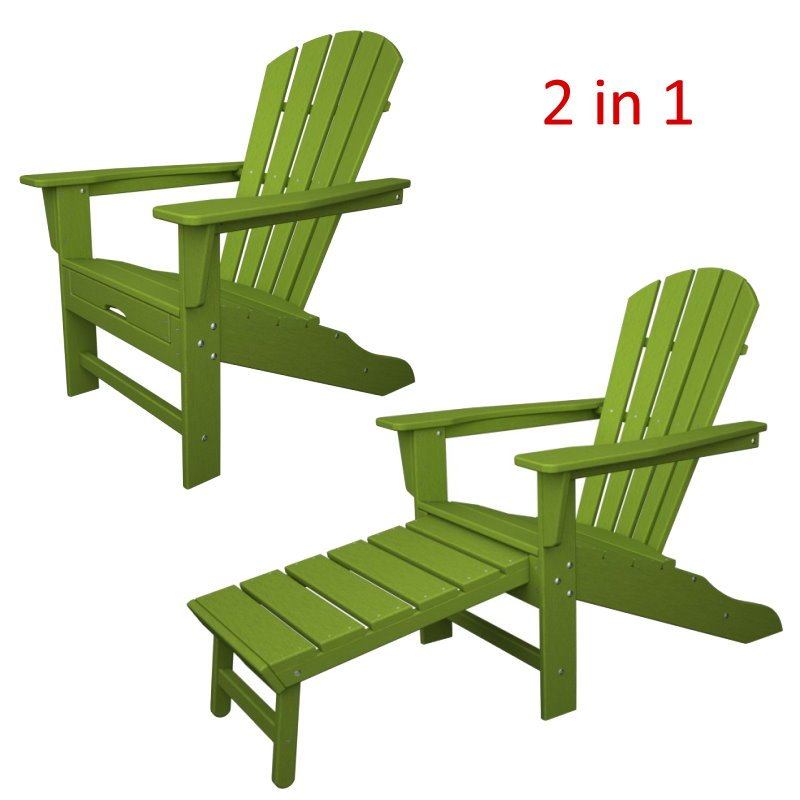 South Beach II Ultimate Adirondack Chair W/ Hideaway Ottoman, HDPE Plastic  Lumber, Lime