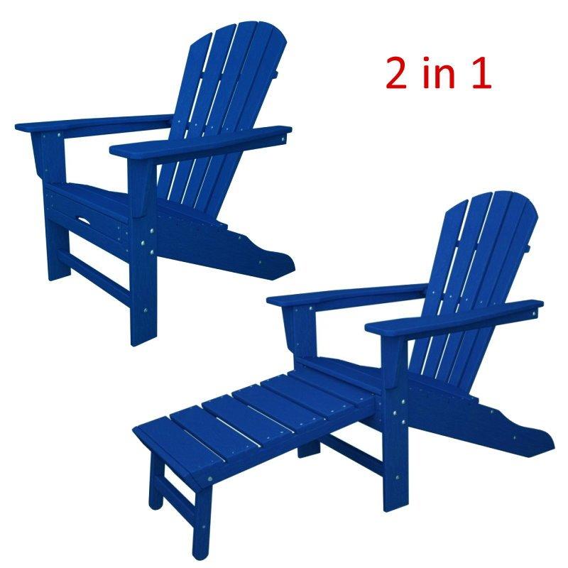 South Beach II Ultimate Adirondack Chair W/ Hideaway Ottoman, HDPE Plastic  Lumber, Pacific