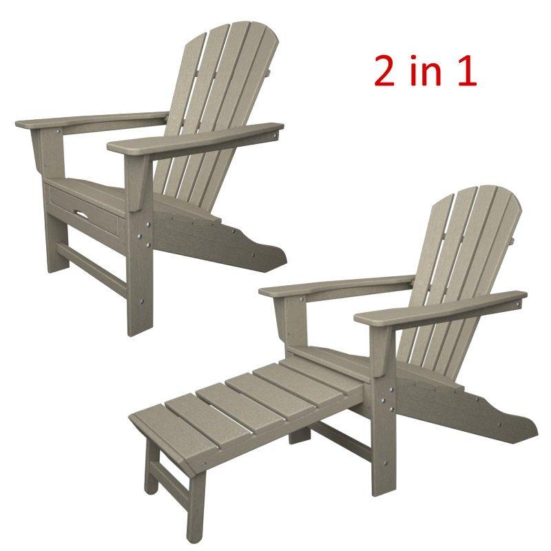 South Beach II Ultimate Adirondack Chair mit ausziehbarem Fussteil, HDPE  Kunststoff, sandfarben