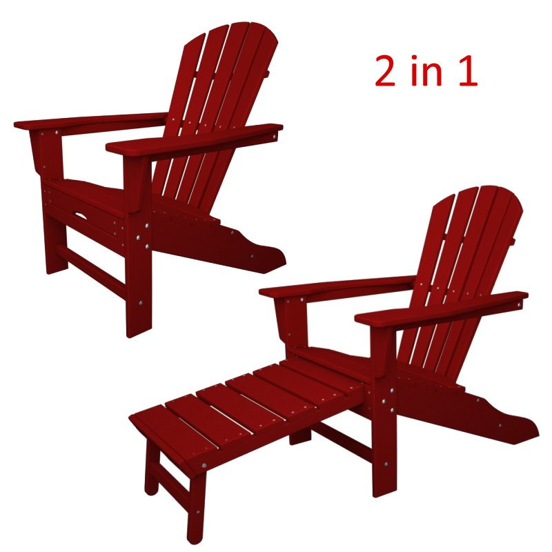 south beach ii ultimate adirondack chair w hideaway ottoman hdpe plastic lumber sunset - Polywood Adirondack Chairs