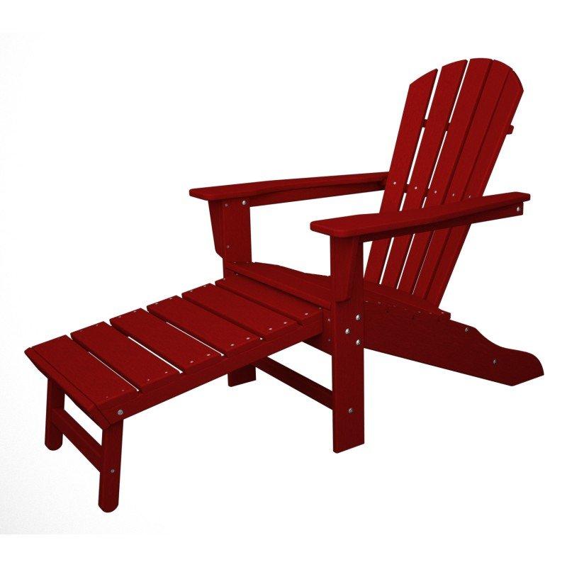 South Beach II Ultimate Adirondack Chair mit ausziehbarem Fussteil, HDPE  Kunststoff, rot