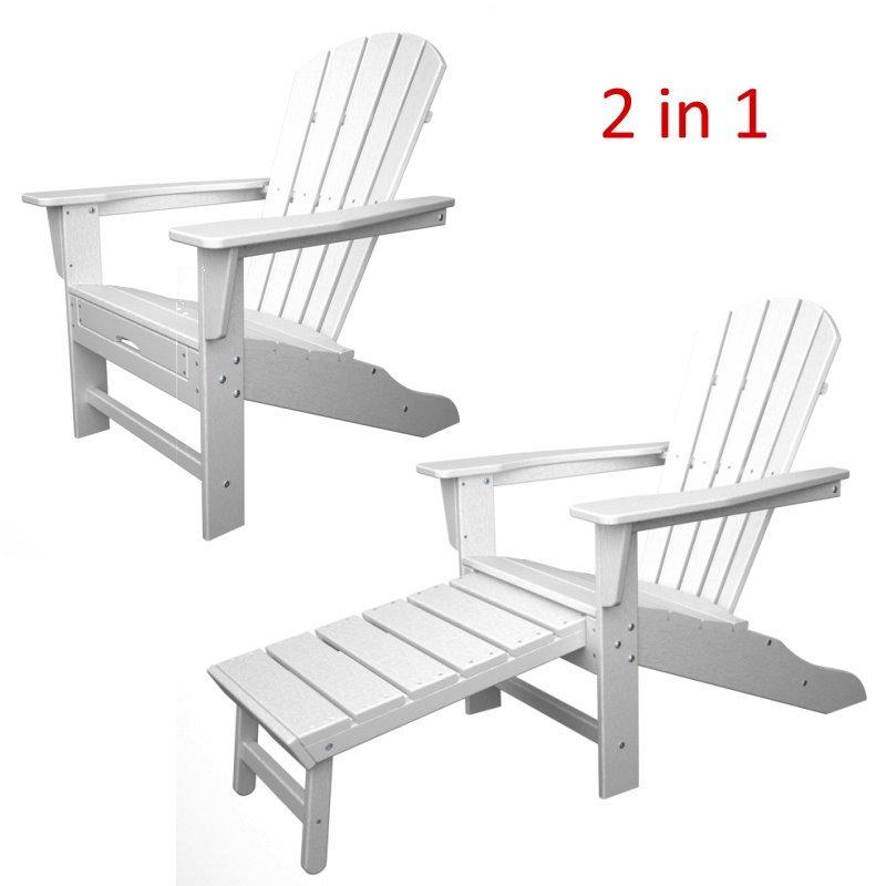 South Beach II Ultimate Adirondack Chair mit ausziehbarem Fussteil, HDPE  Kunststoff, weiss