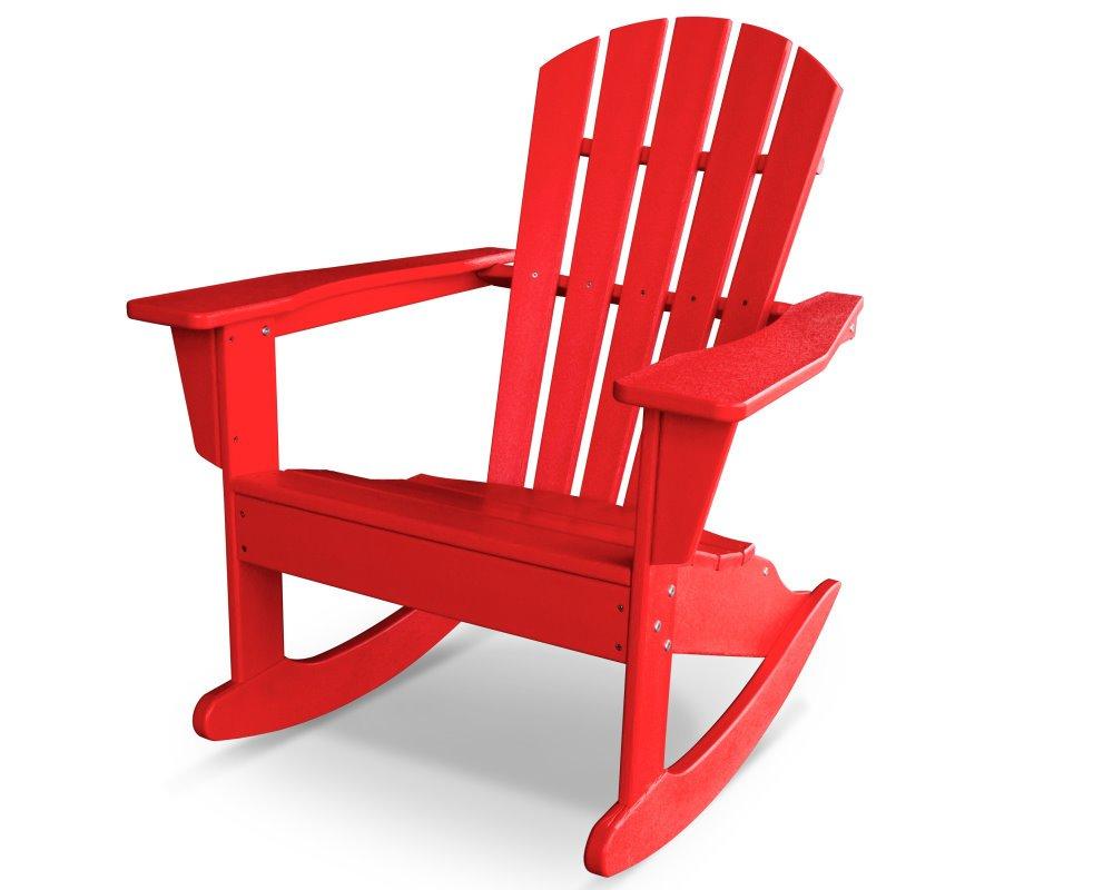 South Beach II Adirondack Rocker, HDPE Plastic Lumber, Sunset Red