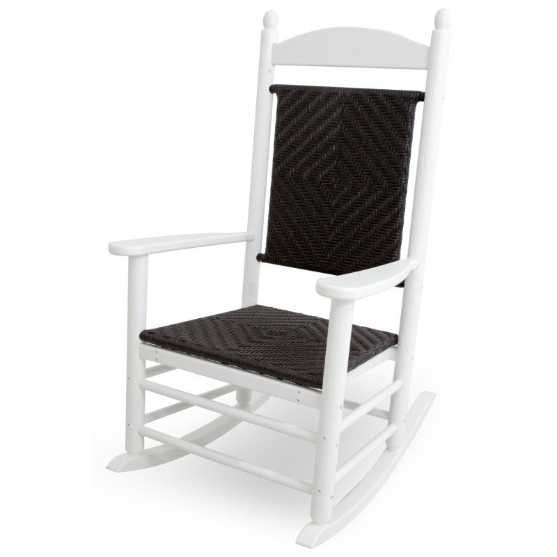 the latest 70a71 11946 Original Jefferson Rocker with woven seat and back, HDPE plastic lumber,  white / cahaba