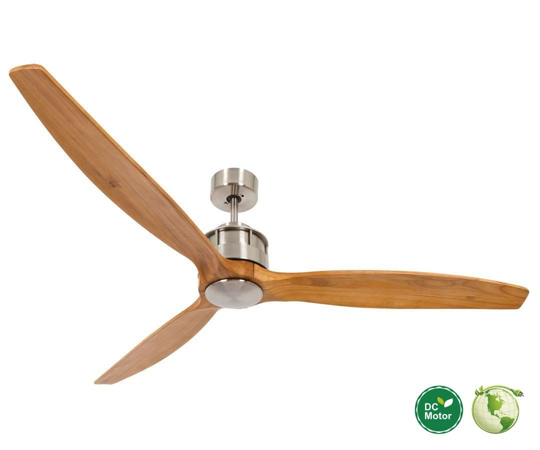 Akmani Dc Ceiling Fan Ø 152 Cm Brushed Chrome Teak