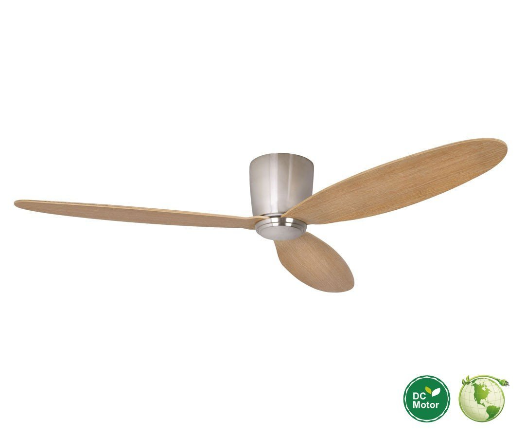 Radar Hugger Dc Ceiling Fan Ø 132 Cm Brushed Chrome Ideal For Low