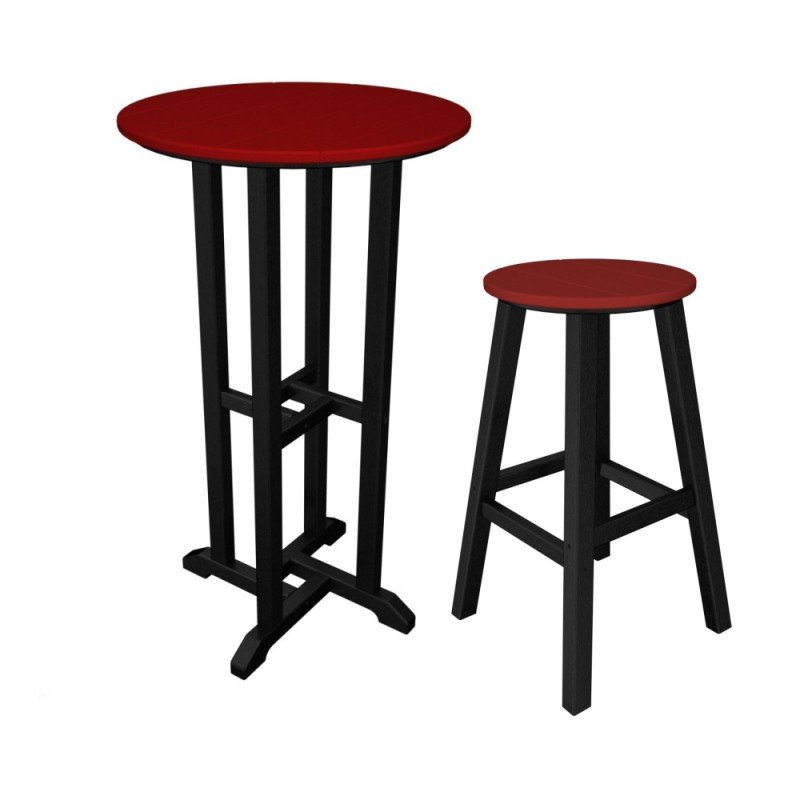 Set of Contempo Bar Table 61 cms + 4 Bar Stools HDPE plastic lumber black / sunset red  sc 1 st  Casa Bruno & Set of Contempo Bar Table 61 cms + 4 Bar Stools HDPE plastic lumber islam-shia.org