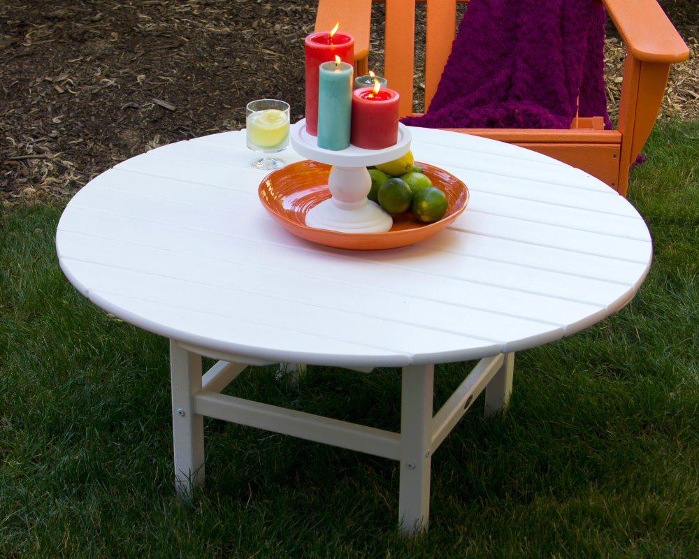 Hochwertig ... White Conversation Table 97 Cms Round, HDPE, ...