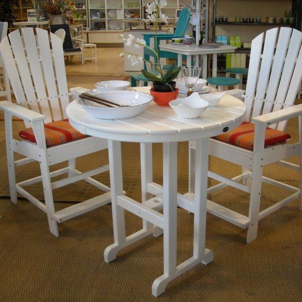 South Beach Counterhöhe Essgruppe (2 Armlehn Stühle, 2 Sitzkissen, 1 Tisch  Ø 90 Cm)