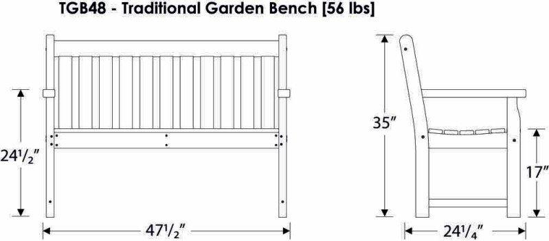 Gartenbank Traditional 122cm weiss - nie mehr streichen ...