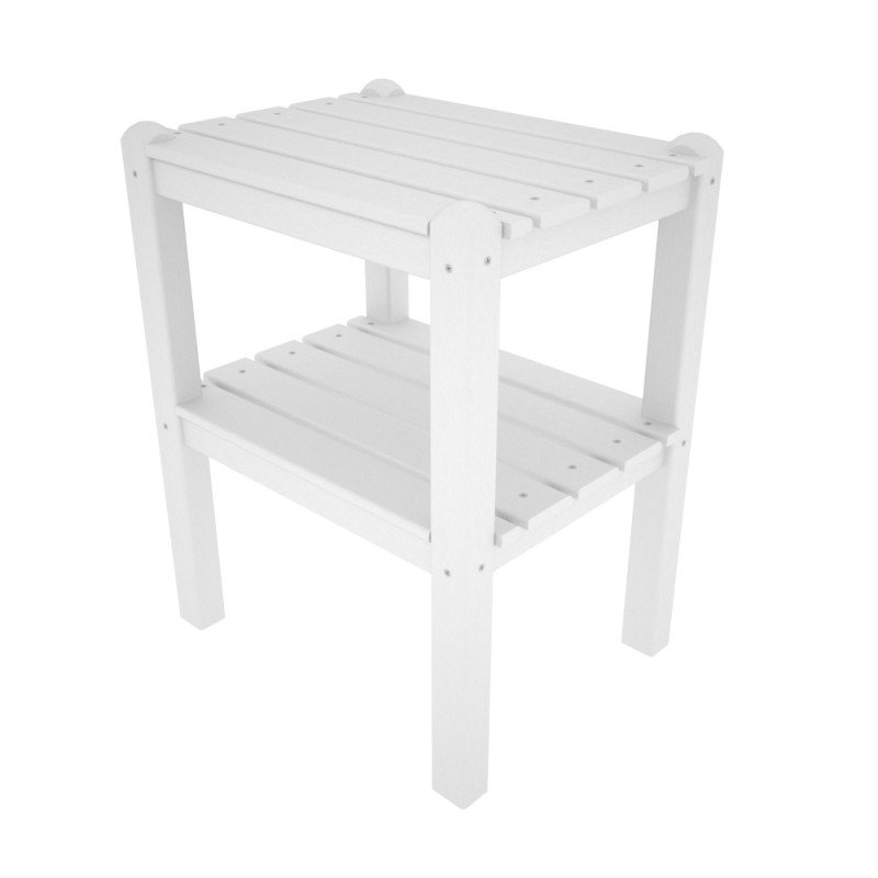 two shelf side table hdpe plastic lumber white 229 00. Black Bedroom Furniture Sets. Home Design Ideas