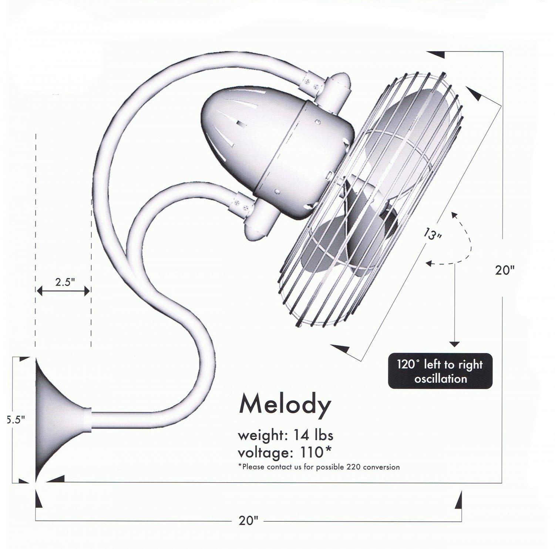 melody ventilador oscilante de pared  niquel satinado  389